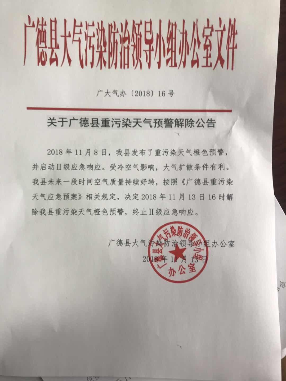 关于广德县重污染天气预警解除公告