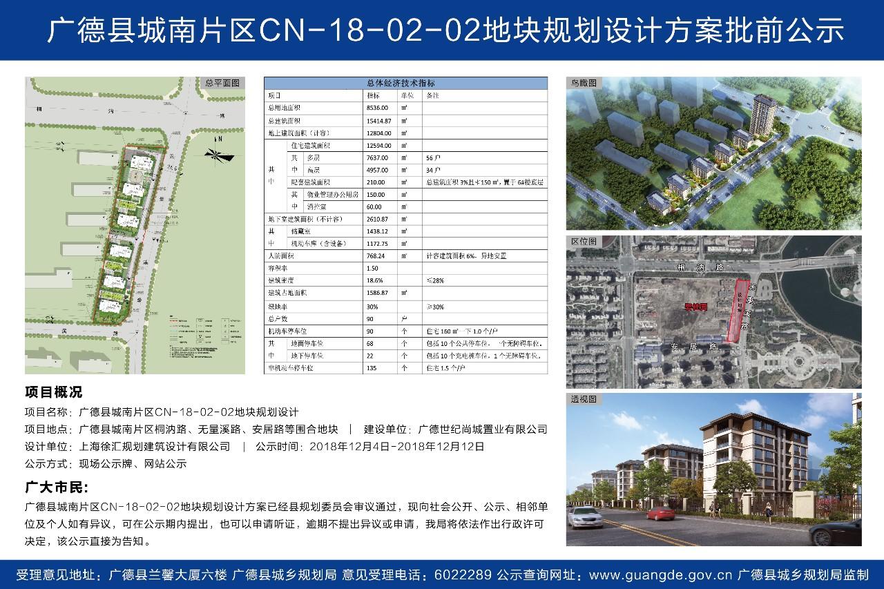 广德县城南片区CN-18-02-02地块规划设计方案批前公示