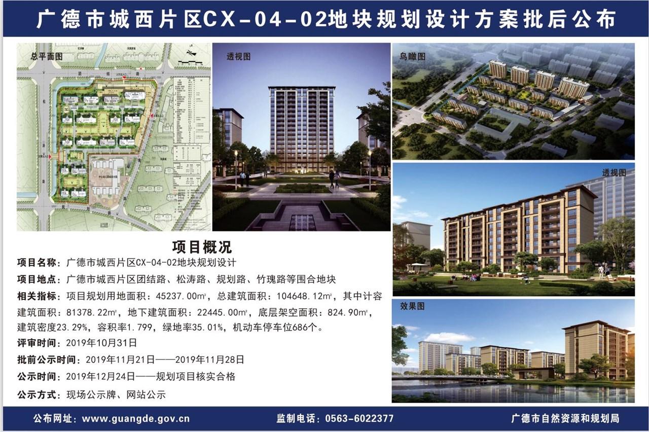 广德市城西片区CX-04-02地块规划设计方案批后公布